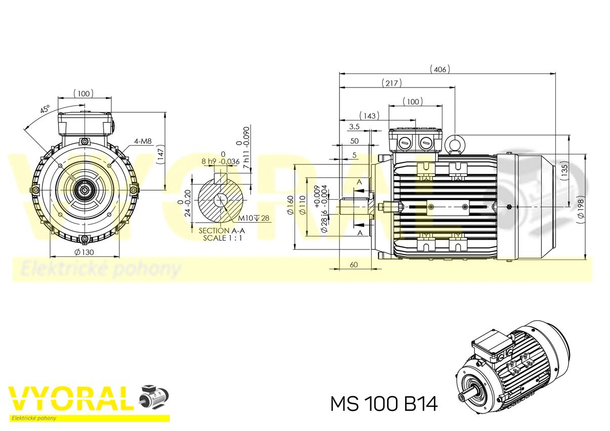 rozměrový výkres elektromotor 100 B14