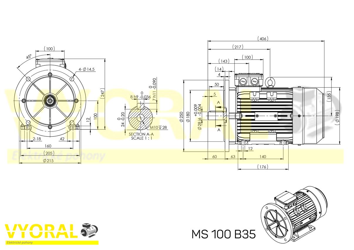 rozměrový výkres elektromotor 100 B35