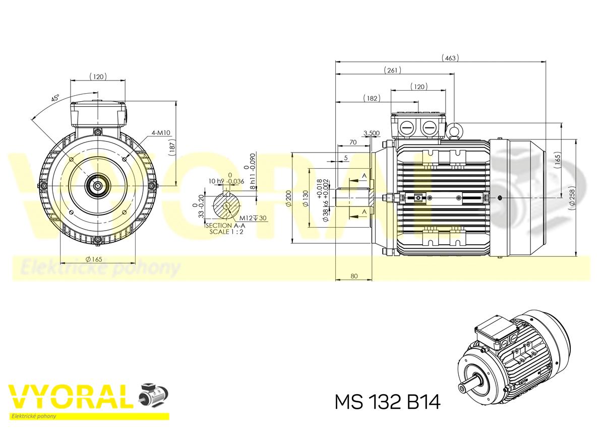 rozměrový výkres elektromotor 132 B14
