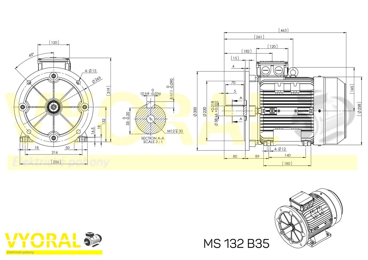 rozměrový výkres elektromotor 132 B35