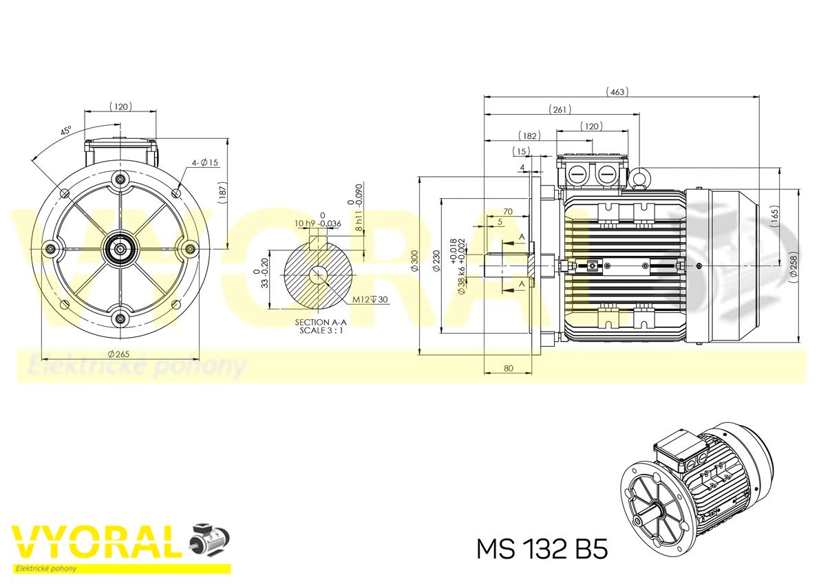 rozměrový výkres elektromotor 132 B5