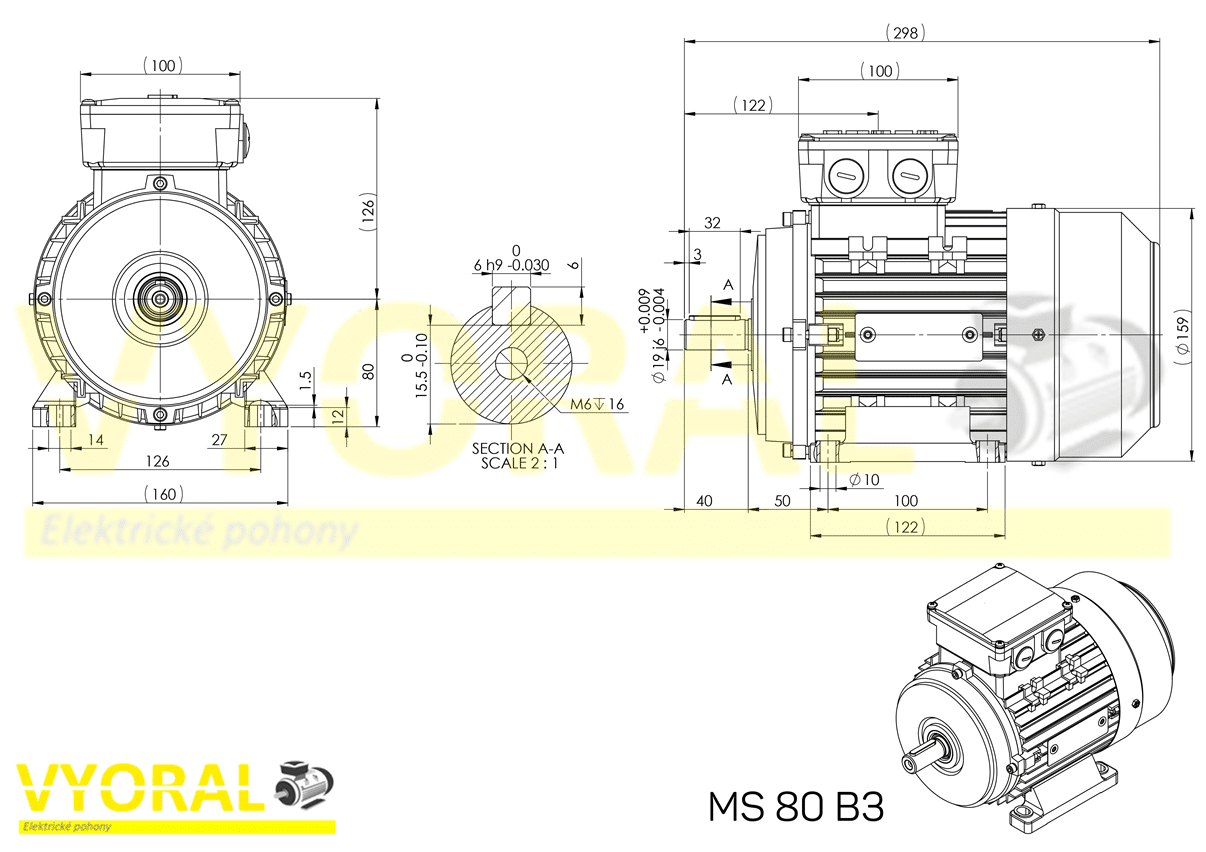 rozměrový výkres elektromotor 80 B3