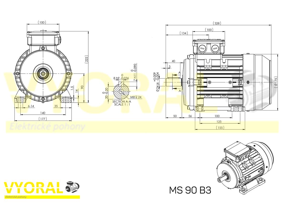 rozměrový výkres elektromotor 90 B3