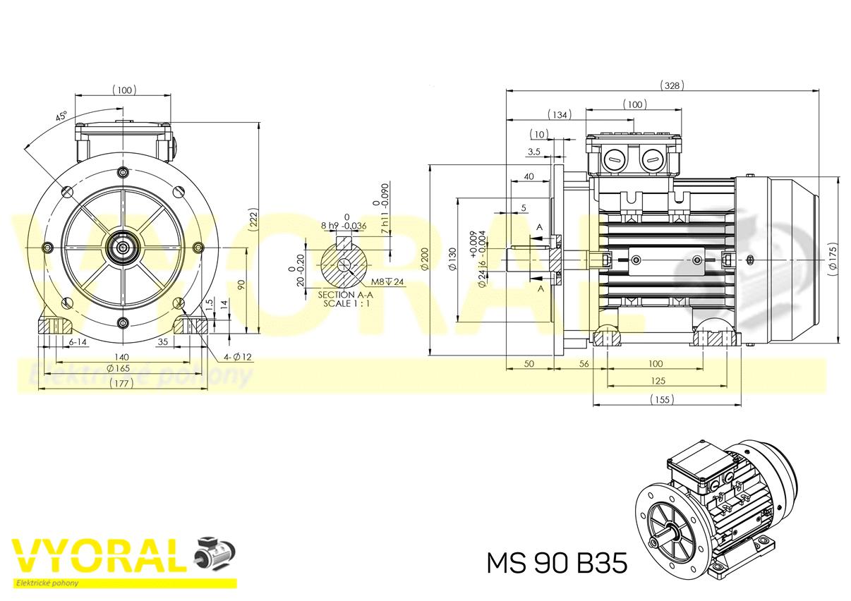 rozměrový výkres elektromotor 90 B35