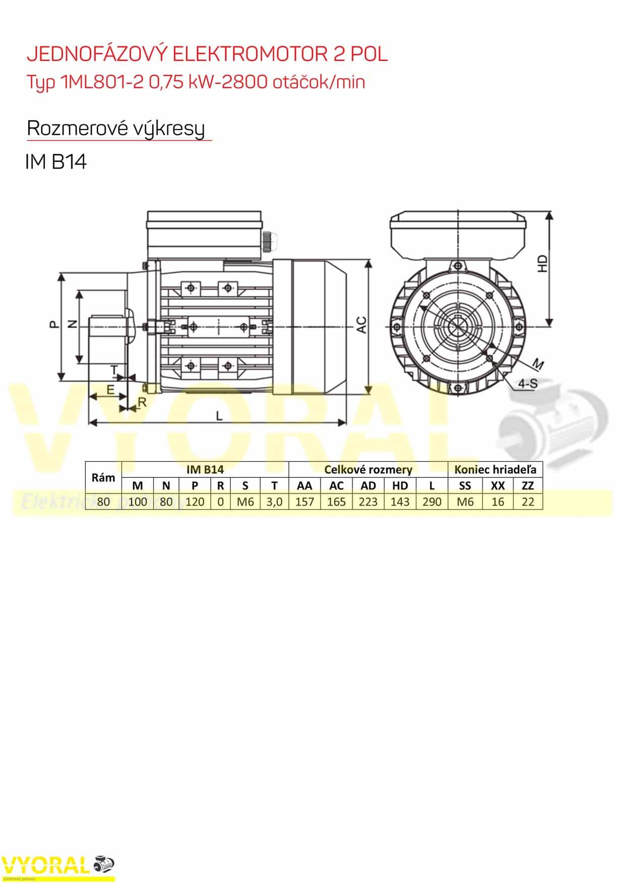 rozměrový výkres jednofázový elektromotor 0,75kw