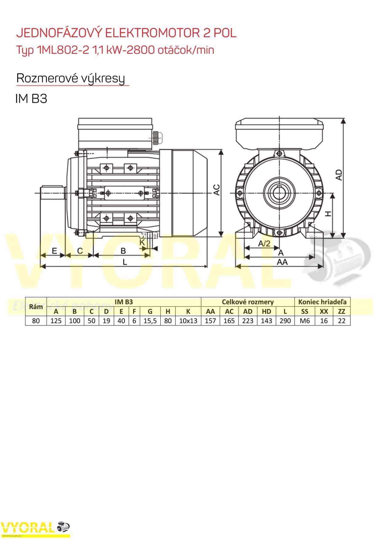 rozměrový výkres jednofázový elektromotor 1,1kw