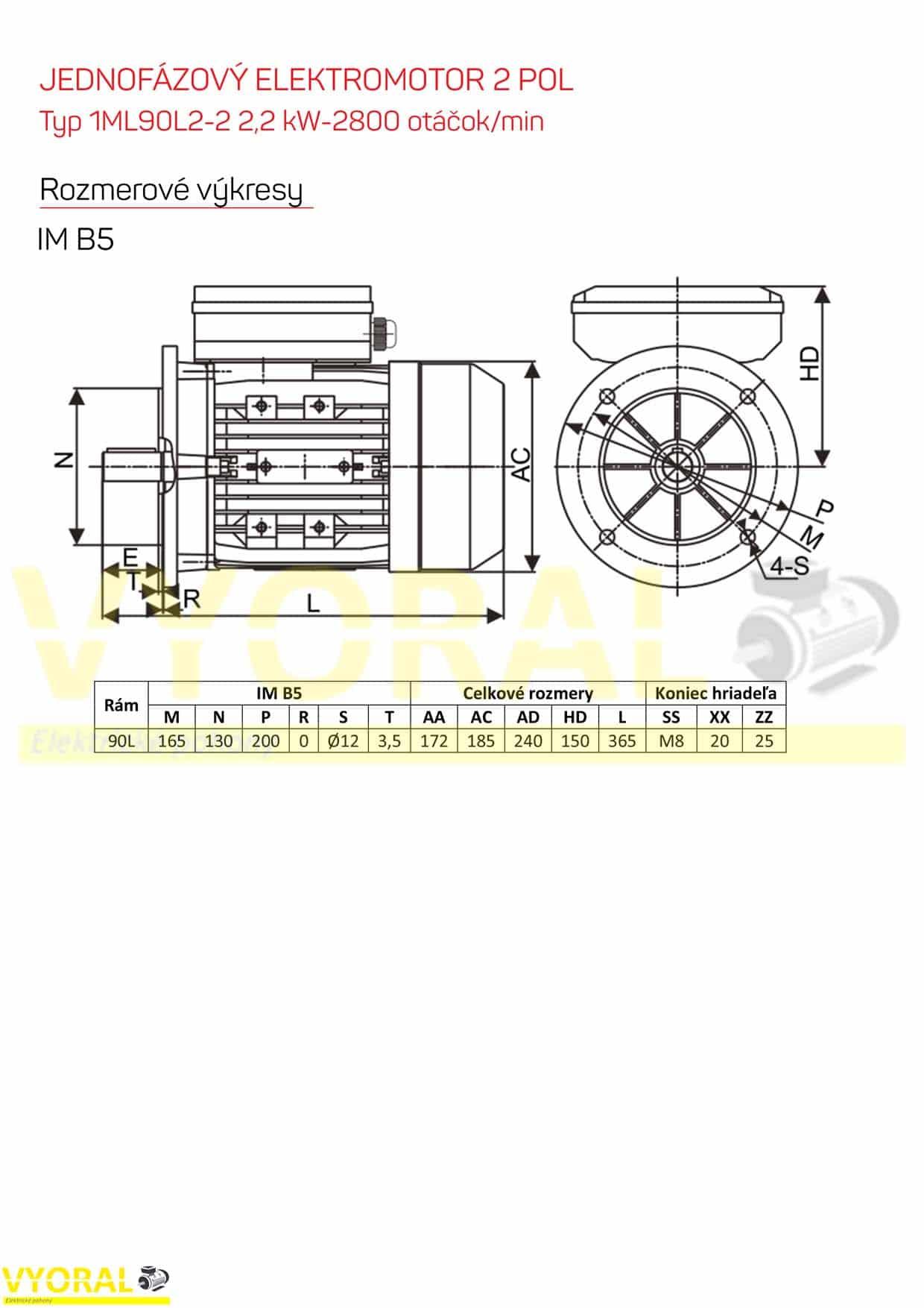 rozměrový výkres jednofázový elektromotor 2,2kw