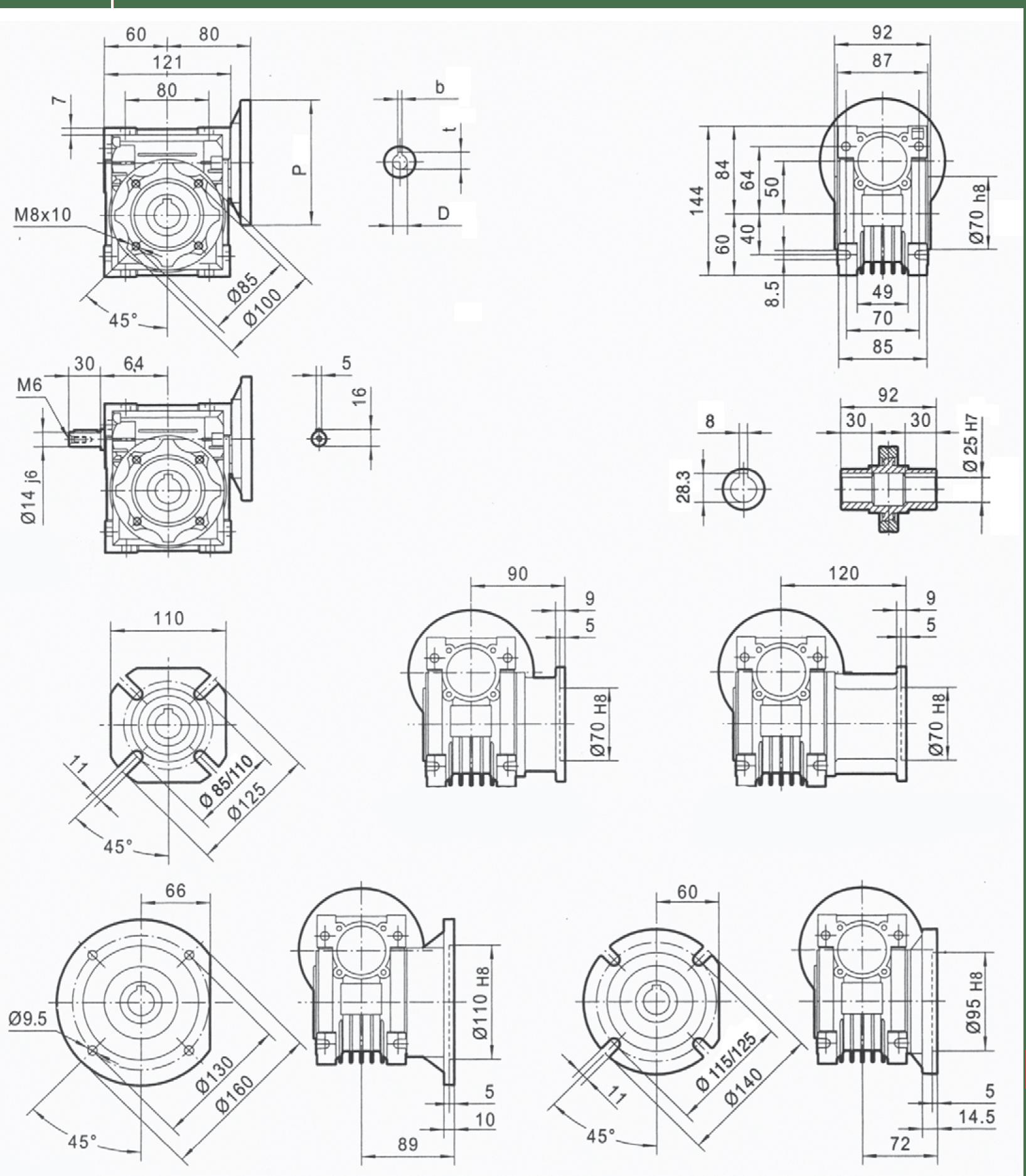 rozměry šneková převodovka PMRV050