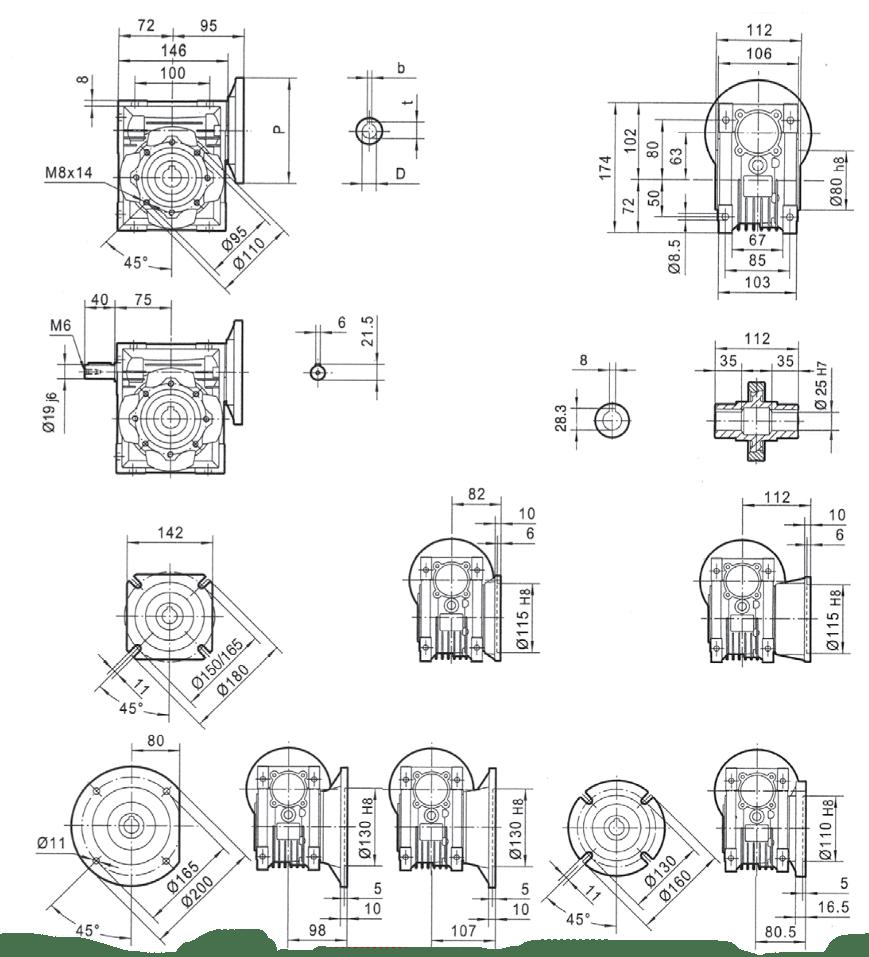 rozměry šneková převodovka PMRV063