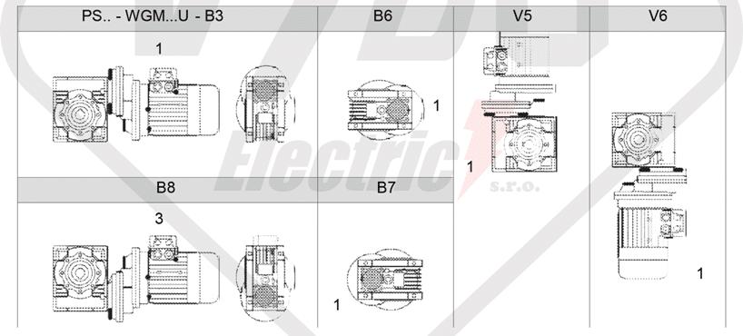 montážní polohy čelní mezipřevodovka PS071