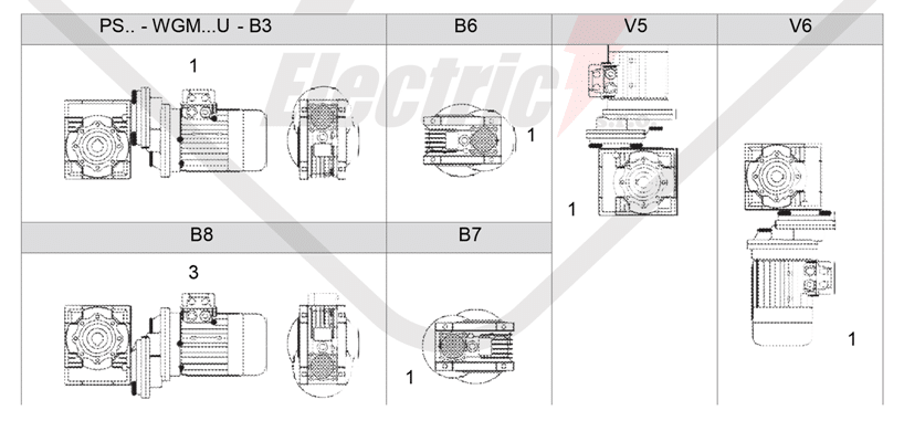 montážní polohy čelní mezipřevodovka PS090