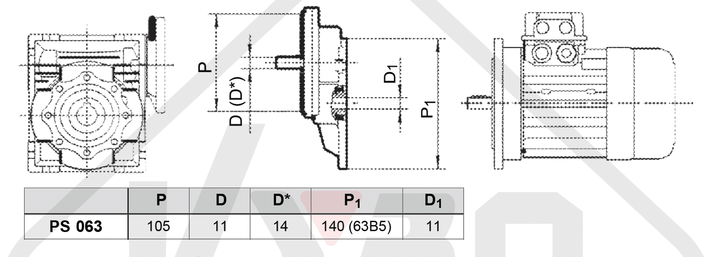 rozměrový výkres čelní mezipřevodovka PS063